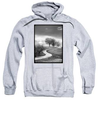 A Winding Country Road In Black And White Sweatshirt