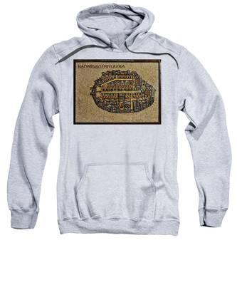Ancient Jerusalem Mosaic Map Color Framed Sweatshirt