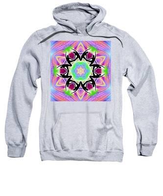 Sweatshirt featuring the digital art Cosmic Spiral Kaleidoscope 08 by Derek Gedney