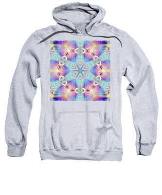 Sweatshirt featuring the digital art Cosmic Spiral Kaleidoscope 17 by Derek Gedney