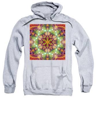 Sweatshirt featuring the digital art Cosmic Spiral Kaleidoscope 42 by Derek Gedney