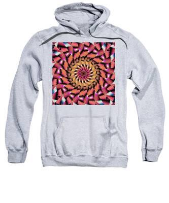 Sweatshirt featuring the drawing Rippled Source Kaleidoscope by Derek Gedney
