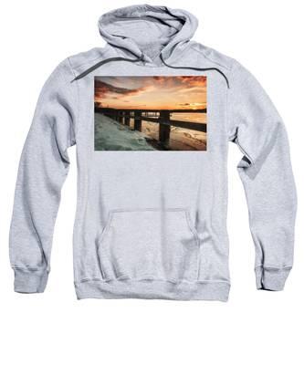 Snowy Sunset In Northport New York Sweatshirt
