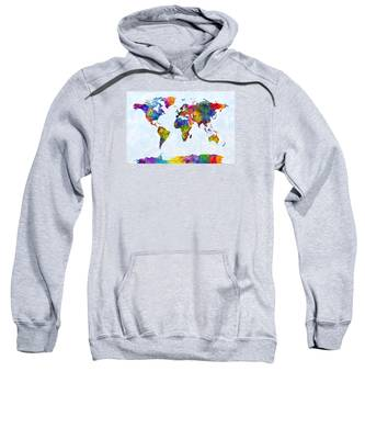 Watercolor Map Of The World Map Sweatshirt