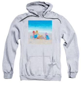 Beach Painting - Building Sandcastles Sweatshirt