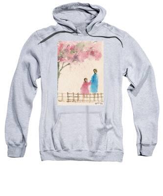 Cherry Blossom Tree Over The Bridge Sweatshirt