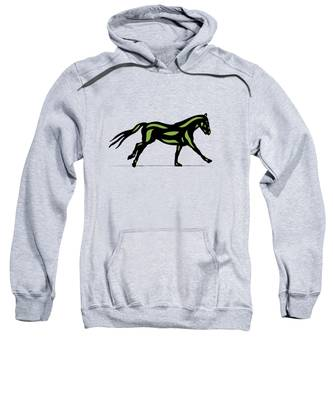 Sweatshirt featuring the digital art Clementine - Pop Art Horse - Black, Geenery, Hazelnut by Manuel Sueess