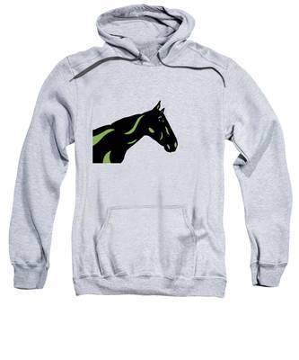Sweatshirt featuring the digital art Crimson - Pop Art Horse - Black, Greenery, Purple by Manuel Sueess