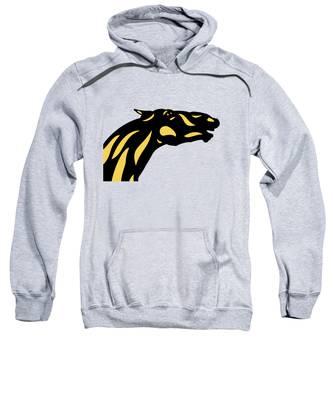Sweatshirt featuring the digital art Fred - Pop Art Horse - Black, Primrose Yellow, Hazelnut by Manuel Sueess