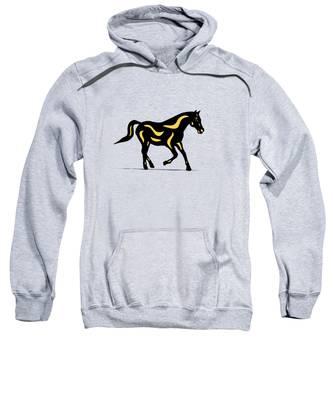 Sweatshirt featuring the digital art Heinrich - Pop Art Horse - Black, Primrose Yellow, Hazelnut by Manuel Sueess