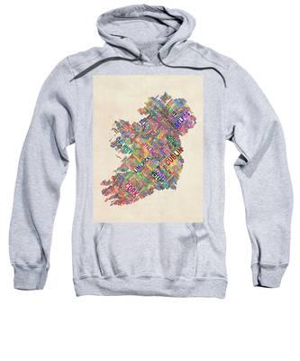 Ireland Eire City Text Map Derry Version Sweatshirt