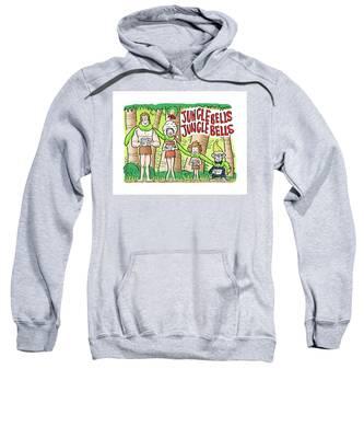 Sweatshirt featuring the digital art Jungle Bells by Mark Armstrong
