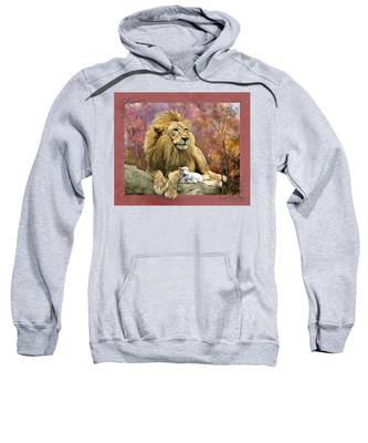 Sweatshirt featuring the digital art Lion And The Lamb by Susan Kinney