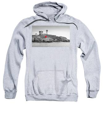 Nubble Lighthouse In Color And Black And White Sweatshirt