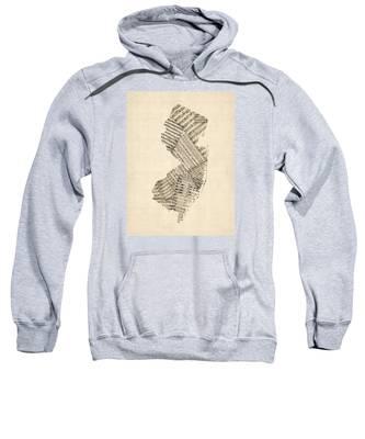 Old Sheet Music Map Of New Jersey Sweatshirt