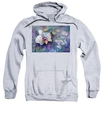 Phalaenopsis Orchid With Hyacinth Background Sweatshirt