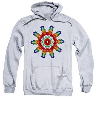Rainbow Steampunk Sun Fractal Sweatshirt