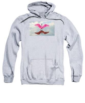 Roseate Spoonbill Pink Angel Sweatshirt