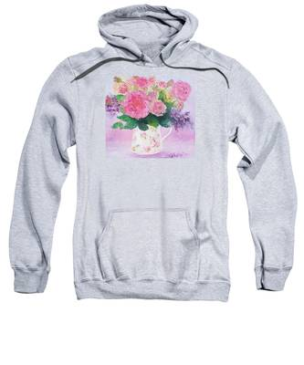 Roses In A Pink Floral Jug Sweatshirt