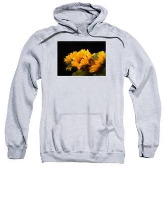 Sunflowers On A Black Background Sweatshirt