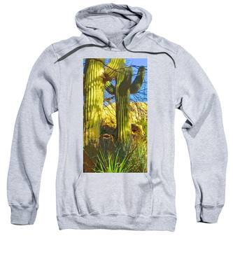 Sweatshirt featuring the photograph In The Shadow Of Saguaros by Judy Kennedy