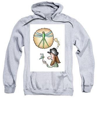 Sweatshirt featuring the digital art Leonardo Da Dragonfly by Mark Armstrong