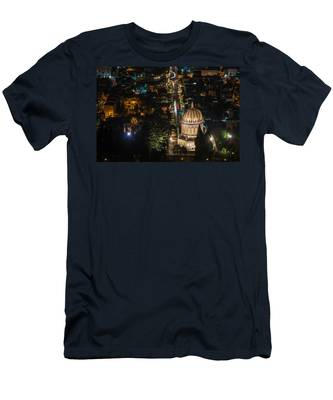 Men's T-Shirt (Athletic Fit) featuring the photograph Baha'i Temple At Night by Michael Goyberg