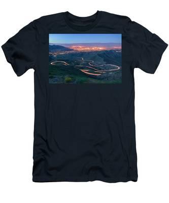 Highway 74 Palm Desert Ca Vista Point Light Painting Men's T-Shirt (Athletic Fit)