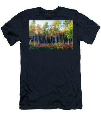 Men's T-Shirt (Athletic Fit) featuring the photograph Birch Trees Turn To Gold by Jeff Folger