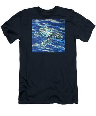 Black Contour Turtle Men's T-Shirt (Athletic Fit)