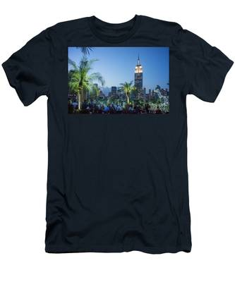 Men's T-Shirt (Athletic Fit) featuring the photograph New York 230 Fith Rooftop Bar  by Juergen Held