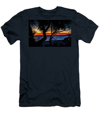 Silhouettes Over Blue Water Men's T-Shirt (Athletic Fit)