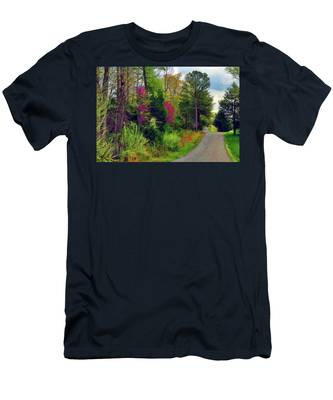 Men's T-Shirt (Athletic Fit) featuring the photograph Country Road Take Me Home by Ola Allen
