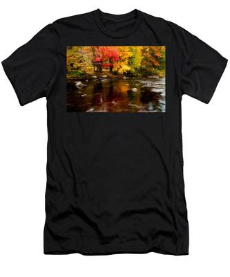 Men's T-Shirt (Athletic Fit) featuring the photograph Autumn Colors Reflected by Jeff Folger