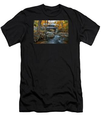 Men's T-Shirt (Athletic Fit) featuring the photograph Flume Gorge Covered Bridge by Jeff Folger