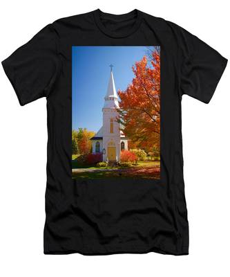 Men's T-Shirt (Athletic Fit) featuring the photograph St Matthew's In Autumn Splendor by Jeff Folger