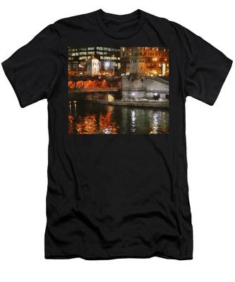 Chicago River At Michigan Avenue Men's T-Shirt (Athletic Fit)