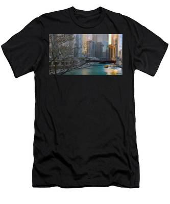Chicago River Sunset Men's T-Shirt (Athletic Fit)