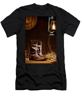 Cowboy Boots At The Ranch Men's T-Shirt (Athletic Fit)