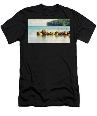 Danish Coast On The Rocks Men's T-Shirt (Athletic Fit)