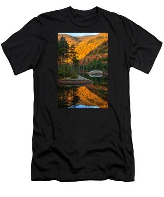 Men's T-Shirt (Athletic Fit) featuring the photograph Dawns Foliage Reflection by Jeff Folger