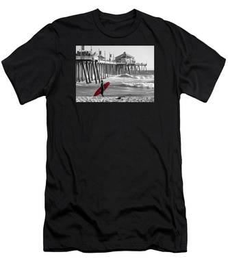 Existential Surfing At Huntington Beach Selective Color Men's T-Shirt (Athletic Fit)