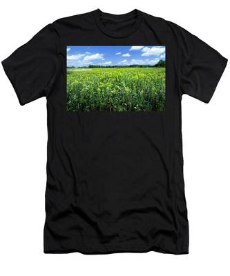 Field Of Flowers Sky Of Clouds Men's T-Shirt (Athletic Fit)