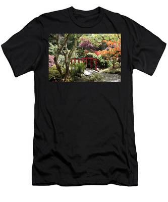 Japanese Garden Bridge With Rhododendrons Men's T-Shirt (Athletic Fit)