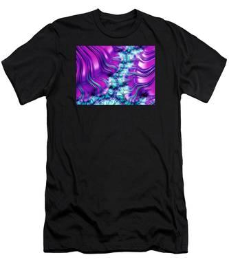Magenta And Aqua Soft Fractal Abstract Men's T-Shirt (Athletic Fit)