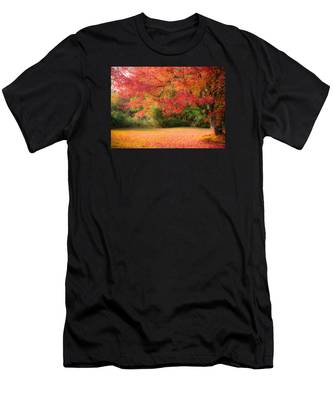 Men's T-Shirt (Athletic Fit) featuring the photograph Maple In Red And Orange by Jeff Folger