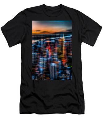 New York- The Night Awakes - Orange Men's T-Shirt (Athletic Fit)