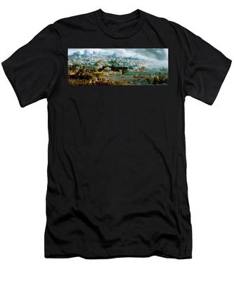 Panorama With The Abduction Of Helen Amidst The Wonders Of The Ancient World Men's T-Shirt (Athletic Fit)