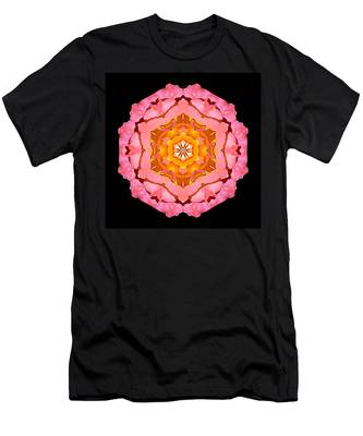 Pink And Orange Rose I Flower Mandala Men's T-Shirt (Athletic Fit)