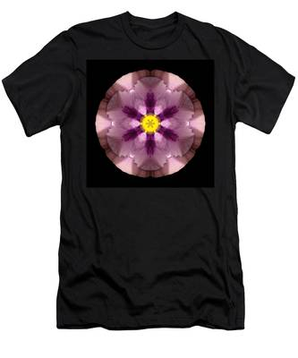 Pink And Purple Pansy Flower Mandala Men's T-Shirt (Athletic Fit)